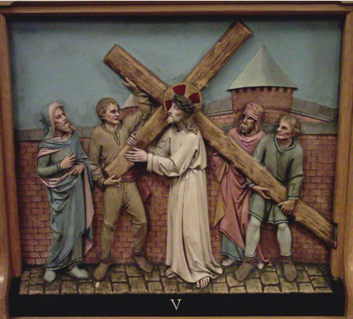 The Fifth Station - the Cross is laid on Simon of Cyrene